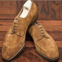 Handmade Men's Brown Suede Lace Up Dress/Formal Oxford Shoes