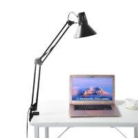 Long Arm Desk Lamp Work Reading Folding Clip-on LED Table Lighting E27+LED Bulb