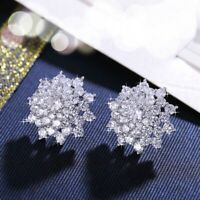 18K White & Gold Filled Simulated Diamond Cluster Flower French Clip Earrings