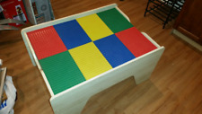 LEGO WOOD TABLE-KIDS TODDLER PLAY ACTIVITY REMOVEABLE/REVERSIBLE PLATES &STORAGE