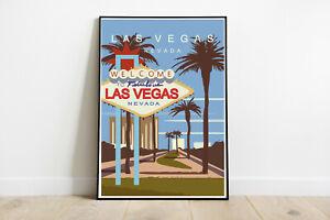 Las Vegas travel poster, Las Vegas retro wall print, USA vintage travel print 1
