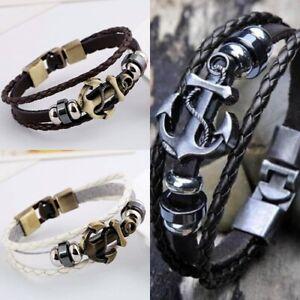Damen Herren Vintage Armband ANKER Surferarmband Armschmuck Kette Bracelet WOW