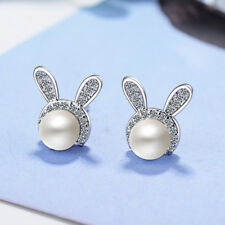 Cute Fashion 925 Sterling Silver Zircon Pearl Rabbit Ear Stud Earrings