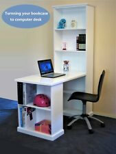 Solid Wood Computer Desk with Bookcase in White Children Furniture Home Office