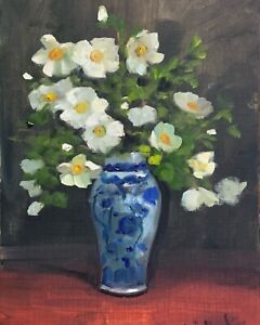 A4 Print of Original oil painting art floral wild roses in china  vintage style