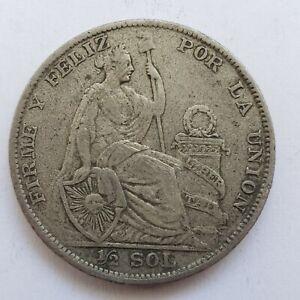 1924 Peru 1/2 Half Sol Uncertified Ungraded Peruvian Silver Coin Foreign Coin