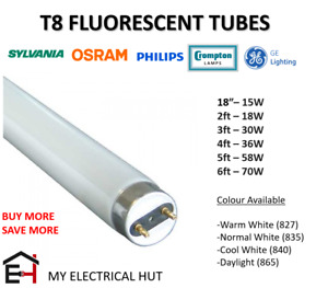 "T8 Fluorescent Tube 18"" 2ft 3ft 4ft 5ft 6ft Warm White Cool White Daylight BRAND"