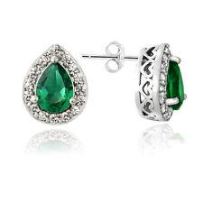 925 Silver Created Green Quartz & White Sapphire Teardrop Stud Earrings