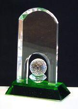 In Scatola CRISTALLO GOLF chiaro e verde a volta Palla Trophy HOLE IN ONE Award X54510 B8