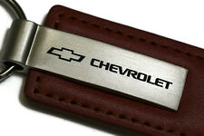 Chevy Chevrolet Brown Leather Authentic Logo Key Ring Fob Keychain Lanyard