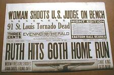 Best 1927 reprint newspaper BABE RUTH hits 60th HOME RUN NewSingle Season Record