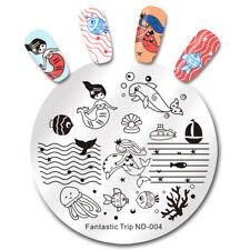 NICOLE DIARY Nail Stamping Plate Sea Mermaid Fish Boat Image Template Nail Art