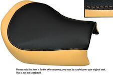 BLACK & TAN CUSTOM FITS SUZUKI TU 250 VOLTY FRONT LEATHER SEAT COVER