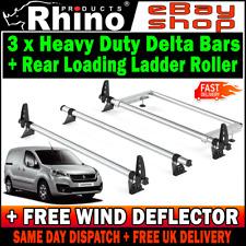 (SWB L1) 3 Peugeot Partner Roof Rack Bars With Roller Rhino Delta 2008-2018 Van