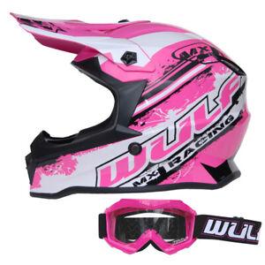 Wulfsport Cub Pro Kids Motocross Helmet + Childrens Goggles MX Pink Off  Road