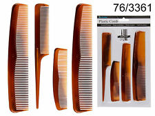 PACK OF 4 ASSORTED COMBS - PLASTIC - BROWN - HAIR STYLE / HAIRDRESSING COMB