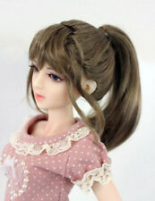 "1/4 1/3 bjd 7-8"" doll head brown ponytail style wig dollfie Luts Iplehouse JD289"