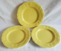 "Set Lot 3 Buttercup Yellow Federalist Ironstone 7.75"" Bread Dessert Plates"
