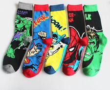 5 Pairs Fashion Mens Socks Lot Super Hero Design Casual Dress Cotton Socks 9-12