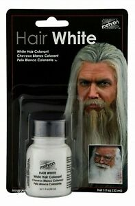 MEHRON HAIR WHITE COLORANT WITH BRUSH_STAGE,COSTUME MAKEUP_ 1 OZ