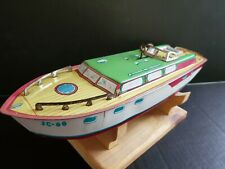 """VINTAGE COLLECTIBLE METAL J. CHEIN WIND UP TOY BOAT WORKING MOTOR 15"""""""