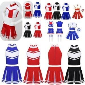 Kids Girls Cheerleading Costume High School Carnival Party Performance Uniforms