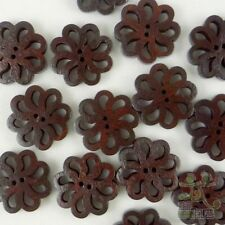 10pcs Dark Brown Wood Flower Buttons Lot 19MM 2 Holes Cards DIY Craft Sewing
