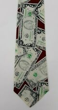 FLORENCE Money Cash Themed Fifty and Hundred 100 Dollar Bill Mens Necktie Tie