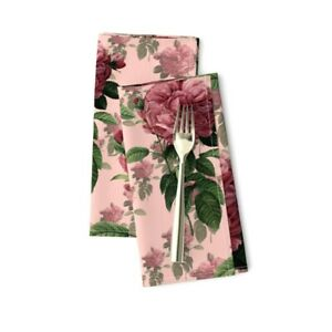 Chintz Rose Botanical Floral Flower Cotton Dinner Napkins by Roostery Set of 2