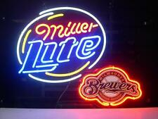 "New Miller Lite Milwaukee Brewers Beer Bar Neon Sign 19""x19"" Ship From USA"