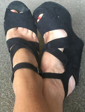 👠Ladies Office London Black Platform Wedge Strappy Shoes Size 7 / 40