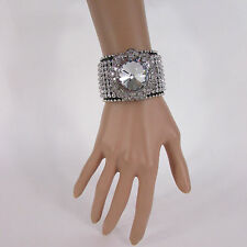 New Women Silver Flower Fashion Black Leather Bracelet Crystals Multi Rhinestone