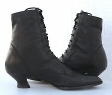 Booties Ankle Boot VTG Steampunk Granny Black Leather Lace Up Pointy Women 8.5 M