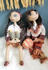 """Joe Spencer Gathered Traditions Shawna and Sean Fabric Thanksgiving Dolls 23"""""""