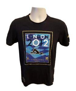 2012 Adidas London Olympic Games Aquatics Adult Black XS TShirt