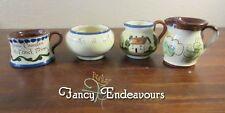 FOUR Piece Lot Torquay Babbacombe Pottery Mottoware Creamer Sugar Souvenir