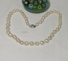 Genuine silver 8-9mm rice shape high lustre freshwater pearl necklace L43cm WT