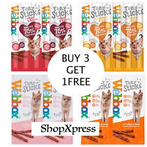 Webbox Delight Cat Treats Chew Sticks Chicken, Salmon,Turkey| 4 for Price of 3