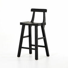 "19.75"" W Set of 2 Neiman Counter Stool Black Reclaimed Pine Wood Modern"