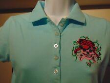 Ed Hardy By Christian Audigier Women Blue Polo shirt Medium