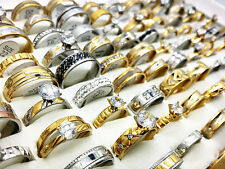 wholesale Mixed 50PCs Silver Gold Tone Stainless Steel Engagement Jewelry Rings