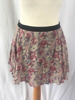 Topshop Size UK 10 Pink & Purple Floral Mini Skirt with Black Lace Trim Small