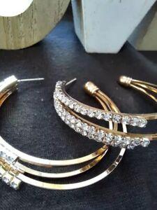 ON TREND ROSE GOLD  Rhinestone Crystal Circle Hoop Stud Fit Earrings
