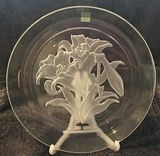VINTAGE HOYA Crystal Plate Flower of the Month July Lilies - Purity 20.5cm