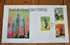 NORFOLK ISLAND JAZZ FESTIVAL 3 STAMP MUSICIANS SAX DRUMS GUITAR SET FDC 2005