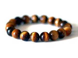 8mm Natural Tigers Eye Bracelet Round Stone Bead Eye Healing Gemstone Energy Men