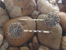Beautiful Handmade Antique Flower Hair Grips Pin - Opal Or CZ Centre- 7 Colours