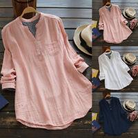 Women's Long Sleeve Casual Plaid Check Shirt Tops Irregular Hem Blouse Plus Size