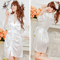 Nightwear Kimono Sexy Nightwear Silk Satin Lace Dressing Gown Bath Robe 2016 POP