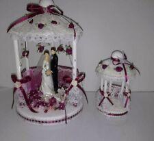 Vintage Bridal Wedding Cake Toppers White & Maroon Bride Groom Brunette Lace